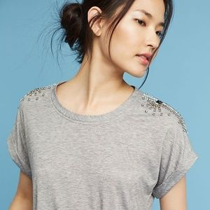 Anthropologie, Embellished Crew Neck Tee, Small
